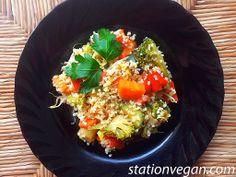 Burghul with vegetables. Bulgur con verduras.  Bulgur alle verdure.