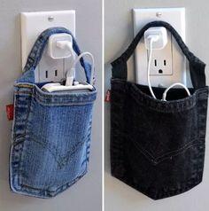 Handy-Aufladetasche aus alter Jeanshosentasche