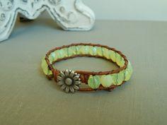 Leather wrap bracelet yellow czech glass daisy by ShabbyChicGlam