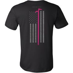 """Pink Roof Hook Firefighter USA Flag Shirt  Features a Pink Roof Hook over a subdued American Flag.  * Official Thin Line Style Apparel, printed in The USA * 100% combed, ring-spun cotton unisex retail fit tee * Soft, shoulder to shoulder taping, side seams, ultimate comfort * Machine wash cold with like colors, tumble dry low and remove promptly. Do not bleach.  Size Chest Body Length  S 34-37"""" 28""""  M 38-41"""" 29""""  L 42-45"""" 30""""  XL 46-49"""" 31""""  2XL 50-53"""" 32""""  3XL 54-57"""" 33"""""""