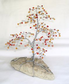 Fall Colors Beaded Bonsai Wire Tree Sculpture with crystals - wouldn't it be cool in blue and purple?