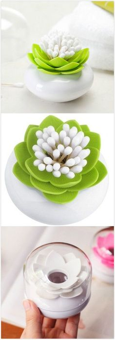 Lotus Cotton Swab Box Toothpicks Holder. #home_gadgets #product_design