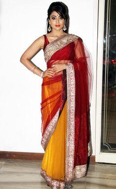 Shriya Saran in a dual colour saree at Police kids dance show.