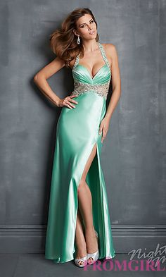 Long Sweetheart Halter Formal Gown at PromGirl.com