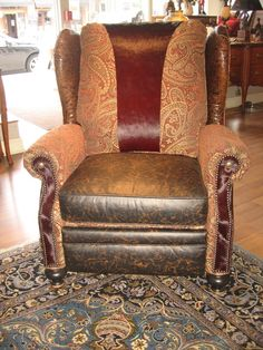 Handmade Unique Furniture, Recliner with Tooled Leather and Burgundy Hair on Hide Accents by Bernadette Livingston Furniture Llc   CustomMade.com