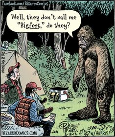 Plan a BigFoot party with all of these fun Big Foot games! Hunt for Big foot and have some fun with friends while you serach for this mythical creature. Bizarro Comic, Funny Cartoons, Funny Comics, Funny Memes, Funny Quotes, Bigfoot Party, Finding Bigfoot, Grammar Humor, Biology Humor