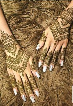 Pretty Henna Designs, Finger Henna Designs, Henna Art Designs, Mehndi Designs For Girls, Mehndi Designs For Beginners, Dulhan Mehndi Designs, Mehndi Designs For Fingers, Wedding Mehndi Designs, Unique Mehndi Designs
