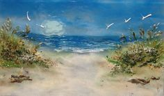 """Fused glass """"path to the beach"""" beach scene panel 18"""" x 30"""". Can be used as wall art mural or kitchen backsplash."""