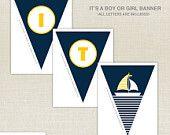 Nautical Printable - Drink Wrap - first birthday - Printable Party - birthday party - sail boat - baby shower - Boy Birthday - DIY Printable. $9.00, via Etsy.