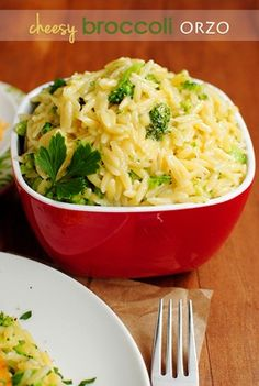Cheesy Broccoli Orzo,  Ingredients: 1 cup orzo 1-1/2 cups chopped broccoli florets 1/4 cup shredded cheddar cheese 2 Tablespoons grated parmesan cheese 1 Tablespoon butter 1/4-1/2 cup 2% milk salt