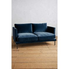 Anthropologie Velvet Linde Settee ($1,898) ❤ liked on Polyvore featuring home, furniture, sofas, blue, anthropologie sofa, anthropologie furniture, blue velvet settee, blue furniture and blue velvet couch