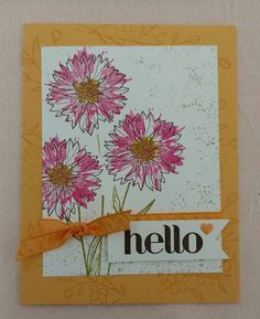 """""""Hello"""" card from Stampin' UP Touches of Texture stamp set using Melon Mambo and Peekaboo Peach ink. Made at Canyon Rose Studio."""