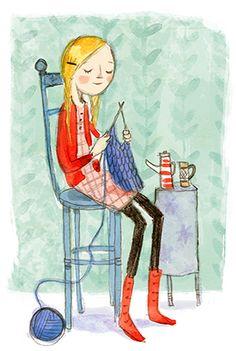 Knitting illustration Twenty Fourteen - Abigail Halpin - Illustration This would be me, for hours. Knitting Quotes, Knitting Humor, Knit Art, Art And Illustration, Clipart, Cute Art, Illustrators, Decoupage, Childrens Books