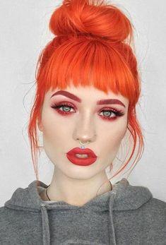 Flame hair and makeup.