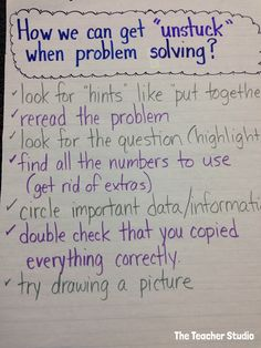 This is a great chart to help students get going again when they become stuck on a problem