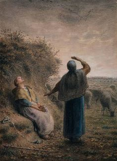 Shepherdesses Watching a Flight of Wild Geese, 1866, Jean-Francois Millet. French Realist Painter, (1814-1875)