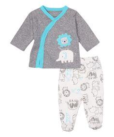Look what I found on #zulily! René Rofé Baby Gray & Turquoise Elephant Cardigan & Footie Pants by René Rofé Baby #zulilyfinds