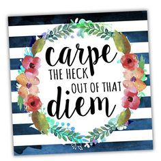 Wreath Quotes 'Carpe Diem Floral' Textual Art on Wrapped Canvas