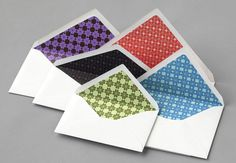 Envelope with patterns on the interior surfaces designed by Atipo for Spanish production studio Minke.