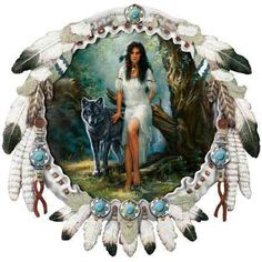 Native women and wolf