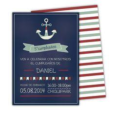 Invitaciones de cumpleaños motivo nautico  Totalmente por ByYolanda