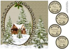 The Christmas Cottage on Craftsuprint designed by Anne Lever - This lovely large square quick topper will fit an 8x8 card. It features a fabulous winter log cabin in the snow, surrounded by trees. It has four greetings to choose from. They are silent night holy night all is calm all is bright, christmas wishes dreaming of a white christmas, merry christmas and a happy new year, merry christmas with love to someone special. - Now available for download!
