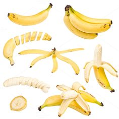 Collection of banana Photos Collection of banana isolated on white background by Grafvision photography Photography Tutorials, Photography Props, Drink Photo, Creative Icon, Pattern Drawing, Background For Photography, Icon Design, Print Design, Pictures To Draw