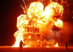 24 hours: Nevada, USA: The Man is engulfed in flames during the Burning Man festival