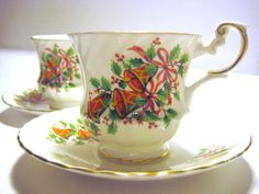 Rosina China Teacups and Saucers  Christmas by wildlifegardener, $24.95