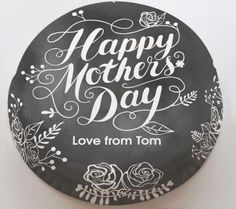 Personalised Cakes For All Occasions - Baker Days Personalised Mother's Day Chalkboard Cake with Flowers