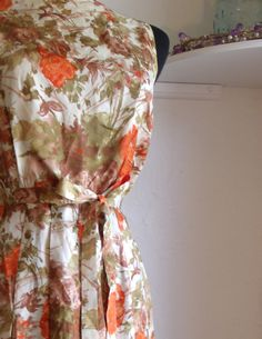 Vintage tea dress satin day dress with pleated by FashionBone