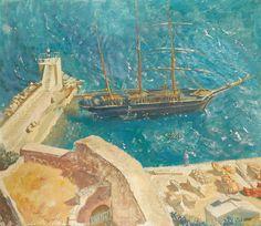 Alexandre Jacovleff (1887 — 1938, Russia-France) View of the port in Calvi. 1930  tempera on canvas laid down on board. 68 x 80 cm. (26 3/4 x 31 1/2 in.)  Александр Евгеньевич Яковлев