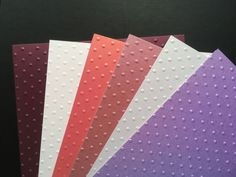 *NEW STOCK* 12 Sheets Embossed Pearl Card, A5, Polka Dots, PINKS & LILAC SHADES Purple Lilac, Color Shades, Emboss, A5, Polka Dots, Pearls, Crafts, Design, Manualidades