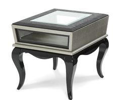 Contemporary Solid Wood Framed Glass Side Panels Titanium Crocodile End Table