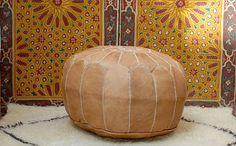 Light Tan Moroccan Pouf Leather Handmade by BerberPoufs on Etsy