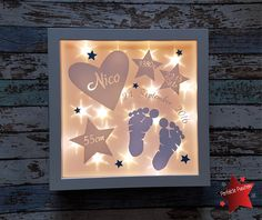More - Picture frame illuminated birth footprints lamp - a designer piece . – Picture frame illuminated birth footprints lamp – a unique product by PerfektePuschen on DaWa Baby Crafts, Diy And Crafts, Cadre Diy, Licht Box, Diy Shadow Box, Baby Boy Themes, Baby Frame, Frame Light, Diy Bebe