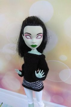 Monster High doll clothes. Hand-knitted black sweater and | Etsy Monster High Doll Clothes, Monster High Dolls, Clothes Crafts, Sewing Clothes, Knit Fashion, Girl Fashion, Monster High Repaint, Knitted Dolls, Custom Dolls