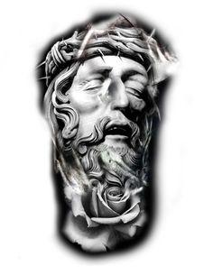 Jesus religious and rose tattoo idea