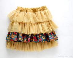 Fabric and Tulle Skirt DIY - FREE PATTERN