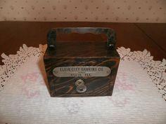 Rare Vintage WF BURNS CO -Metal Coin Bank -Key -Elgin City Banking Co, Elgin, IL