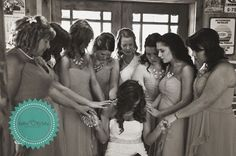 Bridesmaids praying with bride before the ceremony #rustic #wedding #photography