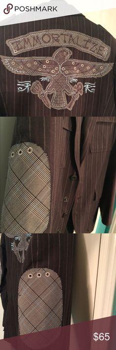 Marc Ecko Brown Striped Blazer Men's size Small 100% Cotton Brown Striped Immortalize Blazer Marc Ecko Suits & Blazers Sport Coats & Blazers #Suiting&Blazers