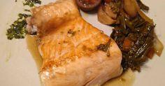 Fabulosa receta para Vinagreta de verduras en Teriyaki. El salmón esta hechos a la plancha, sin ningún secreto. Lo importante son las verduras en Teriyaki. Esa es la receta.