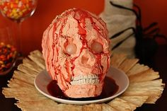 "Walking Dead Party snacks! What better way to serve cheese and crackers than off of a severed head? | Horrifying Zombie-Themed Treats For The Ultimate ""Walking Dead"" Premiere Party"