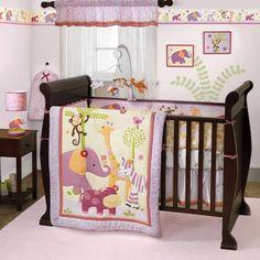 Lavender+and+Pink+Jungle+Safari+Baby+Girl+Nursery+Zebra+4pc+Zoo+Crib+Bedding+Set