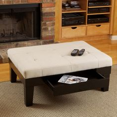 Add character to the room with this ivory storage ottoman. Designed with tapered hardwood legs to protect your floor, linen upholstery, and a hidden slide-out drawer, this contemporary ottoman will complement a variety of loveseats or sofas. Fabric Coffee Table, Storage Ottoman Coffee Table, Fabric Storage Ottoman, Coffee Table With Drawers, Linen Storage, Coffee Tables, Storage Benches, My Living Room, Living Room Furniture