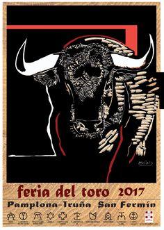 Carteles de la Feria de San Fermin 2017 con los toreros y los toros que se lidian cada tarde en Pamplona en su Plaza de Toros.