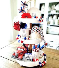 Happy Monday Y'all! ♥️💙♥️💙♥️💙♥️ It's time for another week of All of the entries this week were Ah-maz-ing, but we… Fourth Of July Decor, 4th Of July Celebration, 4th Of July Decorations, 4th Of July Party, July 4th, July Crafts, Patriotic Crafts, Tiered Stand, Seasonal Decor