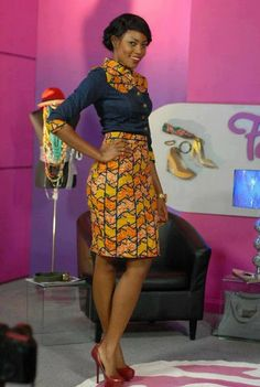 Ankara combined with denim ~African Prints, African women dresses, African fashion styles, african clothing