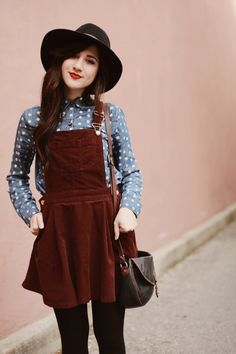 Try combining colors and textures like this brown suede overall dress and polka dot long sleeve shirt to add a new look this season.                                                                                                                                                                                 More